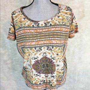 Lucky Brand Short Sleeve Shirt Cropped Boxy Boho